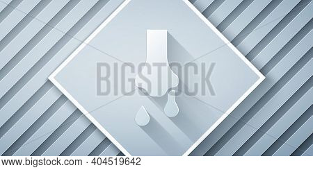 Paper Cut Runny Nose Icon Isolated On Grey Background. Rhinitis Symptoms, Treatment. Nose And Sneezi