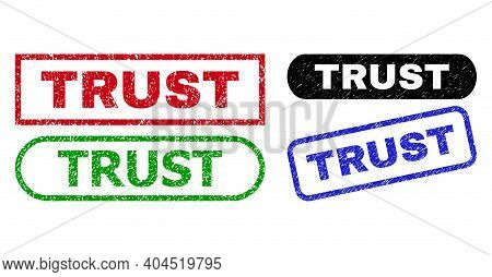 Trust Grunge Watermarks. Flat Vector Distress Stamps With Trust Text Inside Different Rectangle And