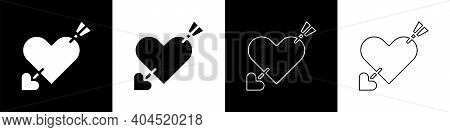 Set Amour Symbol With Heart And Arrow Icon Isolated On Black And White Background. Love Sign. Valent