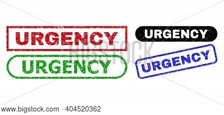 Urgency Grunge Stamps. Flat Vector Grunge Seal Stamps With Urgency Text Inside Different Rectangle A