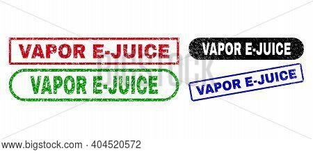 Vapor E-juice Grunge Seal Stamps. Flat Vector Distress Seal Stamps With Vapor E-juice Caption Inside