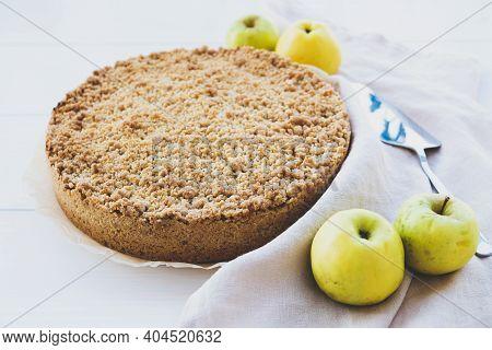 Freshly Baked Homemade Double Crutsed Apple Crumb Pie.