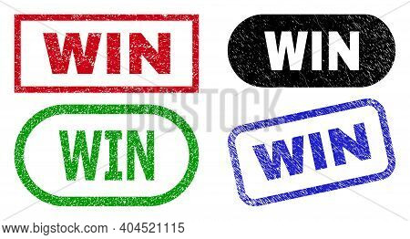 Win Grunge Watermarks. Flat Vector Grunge Watermarks With Win Caption Inside Different Rectangle And