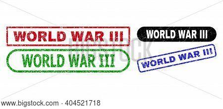 World War Iii Grunge Stamps. Flat Vector Grunge Watermarks With World War Iii Slogan Inside Differen