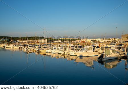 Barbate, Andalusia - 18 January, 2021: View Of The Marina And Harbor In Barbate At Sunset