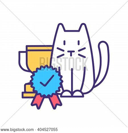 Cat Competition Winner Rgb Color Icon. Pet Exposition Award For Best Kitten Breed. Domestic Animal C