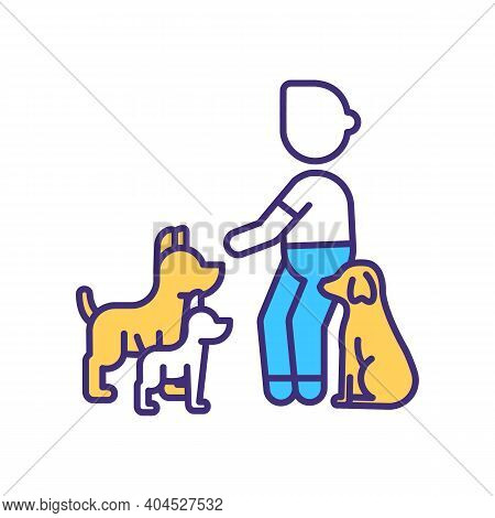 Dog Trainer Rgb Color Icon. Discipline Puppy. Command From Couch To Doggy. Lesson For Canine. Taming