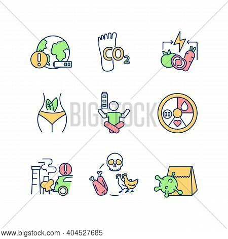 Environmental Damage Prevention Rgb Color Icons Set. Sustainable Development. Animal Cruelty. Health