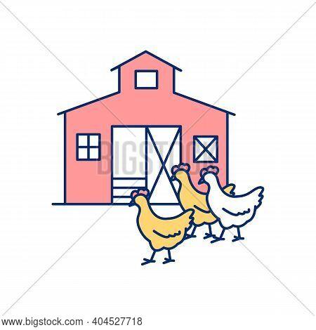 Poultry Farm Rgb Color Icon. Raising Chickens On Ranch. Farmland, Farmhouse For Livestock. Meat Prod