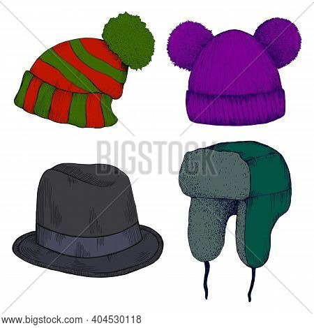 Colorful Headwears Doodle Cartoon Style. Set Of Different Hat With Pom Pom, Hat With Ear Flaps, Funn