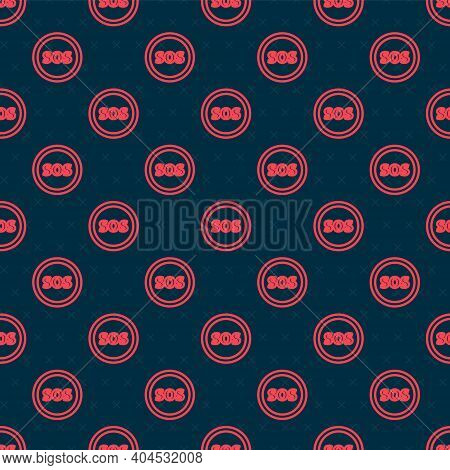 Red Line Location With Sos Icon Isolated Seamless Pattern On Black Background. Sos Call Marker. Map
