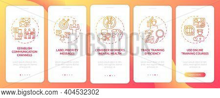 Personnel Reboarding Tips Onboarding Mobile App Page Screen With Concepts. Tracking Efficiency, Heal