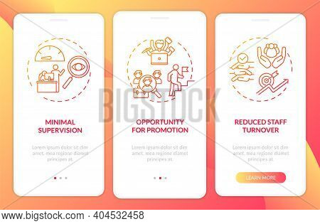 Staff Instruction Advantages Onboarding Mobile App Page Screen With Concepts. Minimal Supervision, A