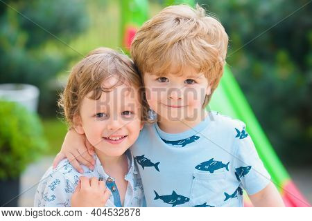 Brothers Family Relationships. Kid Outdoor On Playground, Best Friends. Child Adaptation