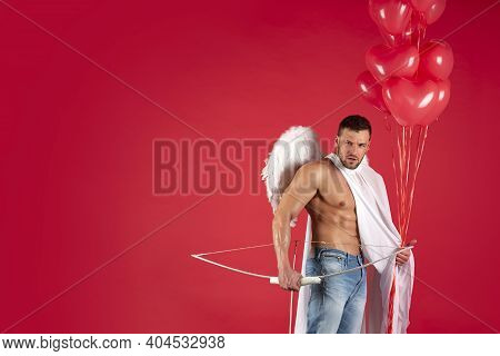 Valentines Day Concept. Handsome Man Angel. Sexy Athlete Guy With Angels Wings. Cupid. Amour. Februa