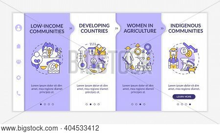 Climate Poverty Risk Groups Onboarding Vector Template. Eco Problems. Responsive Mobile Website With