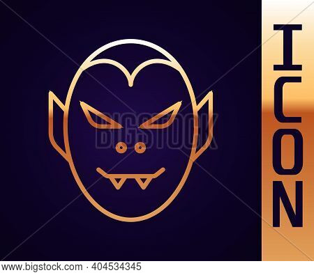 Gold Line Vampire Icon Isolated On Black Background. Happy Halloween Party. Vector