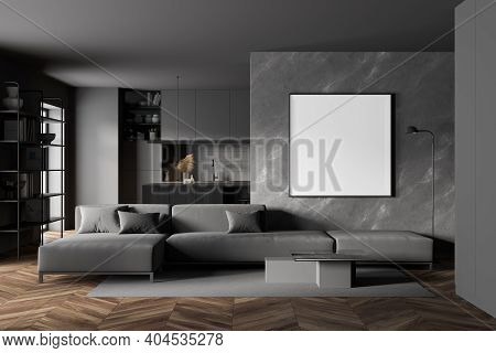 Interior Of Modern Living Room With Grey And Marble Walls, Wooden Floor, Long Gray Sofa With Cushion