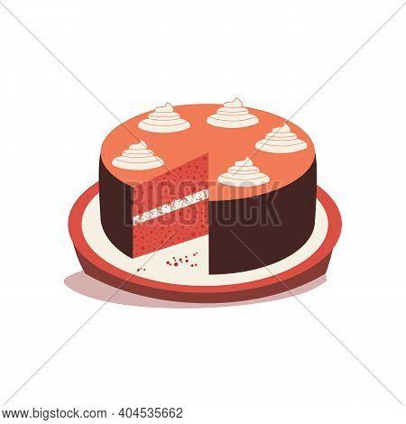 Homemade Red Velvet Cheesecake Flat Color Vector Icon. Sweet Dessert Food Cute Cartoon Design Elemen