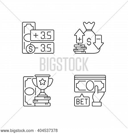 Gambling Linear Icons Set. Point Spread. Moneyline. Betting On Sport Events. Handicap Betting. Custo