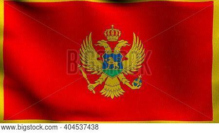 Flag Of Montenegro. 3D Rendering Illustration Of Waving Sign Symbol.