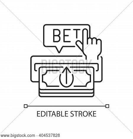 Making Deposit Linear Icon. Cash Transfer. Joining Online Gambling Site. Payment Method. Thin Line C