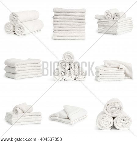 Set Of White Spa Folded Clean Soft Towels On White Background