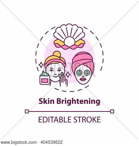 Skin Brightening Concept Icon. Face Mask Effect Idea Thin Line Illustration. Skin Lightening And Ble