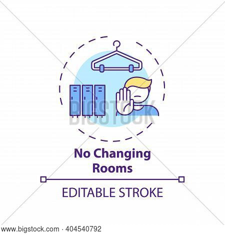 No Changing Rooms Concept Icon. Post-covid Beauty Salon Safety Rule Idea Thin Line Illustration. Dre