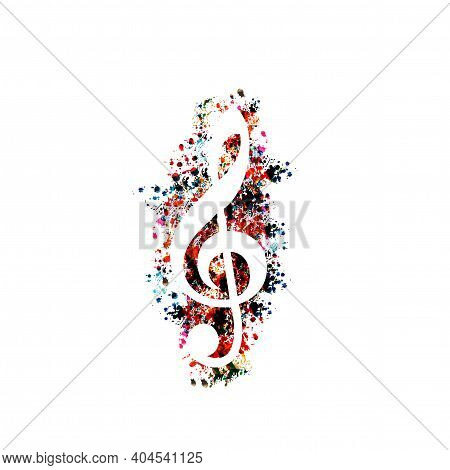 Colorful G-clef Isolated Vector Illustration. Artistic Treble Clef Design For Live Concert Events, M