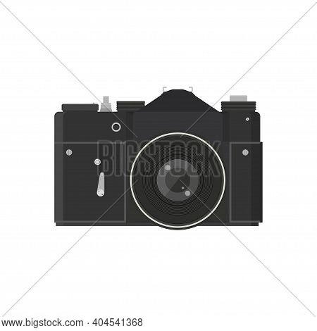 Vintage Camera Icon. Retro, Old, Antique Photocamera. Flat Design.  Vector Illustration