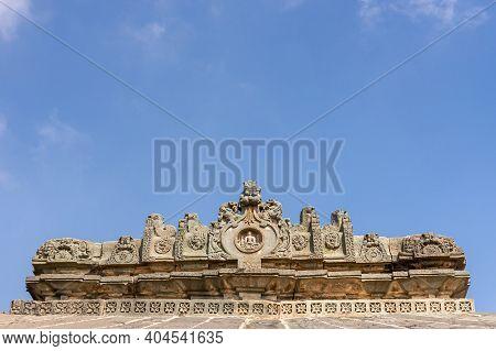 Lakkundi, Karnataka, India - November 6, 2013: Brahma Jinalaya Temple. Closeup Of Sculpted Gable Abo