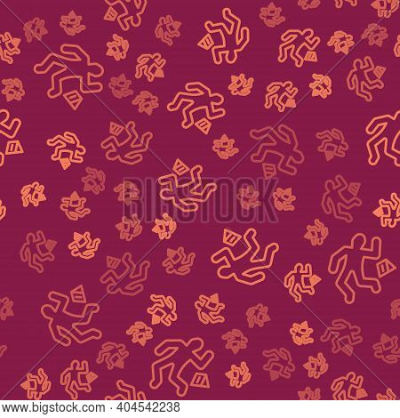 Brown Line Crime Scene Icon Isolated Seamless Pattern On Red Background. Vector