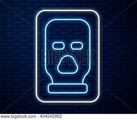 Glowing Neon Line Balaclava Icon Isolated On Brick Wall Background. A Piece Of Clothing For Winter S