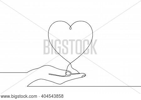 Continuous One Line Drawing Of Hand Holding Heart On Palm. Vector Illustration.