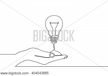 Continuous One Line Drawing Of Hand Holding Electric Light Bulb At Palm Arm. Concept Of Idea Emergen