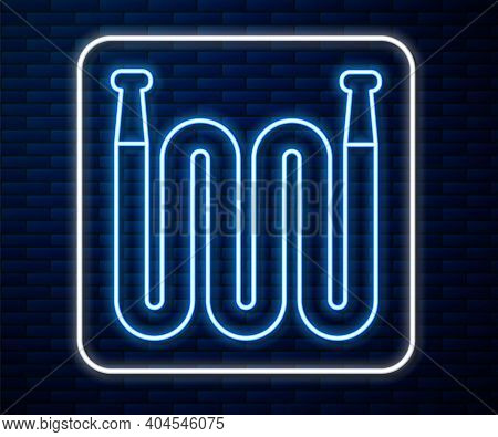 Glowing Neon Line Garden Hose Icon Isolated On Brick Wall Background. Spray Gun Icon. Watering Equip
