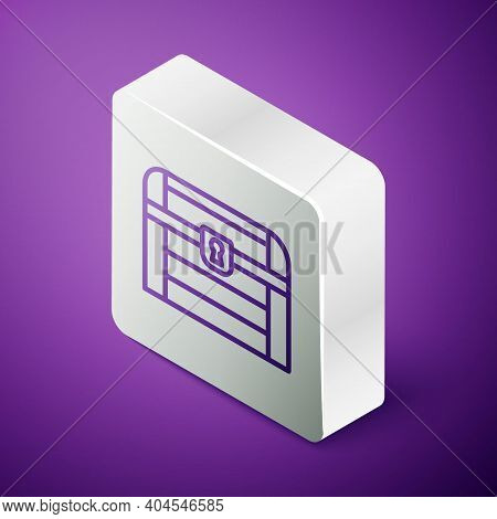 Isometric Line Antique Treasure Chest Icon Isolated On Purple Background. Vintage Wooden Chest With