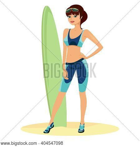 Beautiful Slender Young Woman Or Beach Babe Standing In Front Of A Green Surf Board With Her Hand On