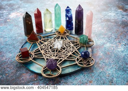 Meditation, Reiki And Crystal Healing Background. Healing Crystals Grid.