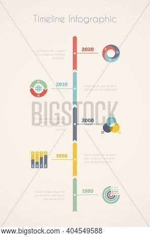 Vector Timeline Infographics, Elements And Icons In Vintage Style, Design Template