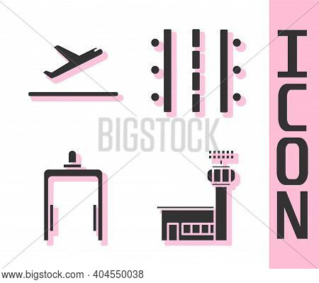 Set Airport Control Tower, Plane Takeoff, Metal Detector In Airport And Airport Runway Icon. Vector