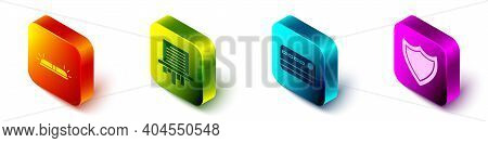 Set Isometric Flasher Siren, Paper Shredder, Credit Card And Shield Icon. Vector