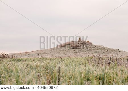 Old Mound On Hill In Autumn. Dawn In Autumn Field. Hills In Morning Haze. Grass Covered With Autumn