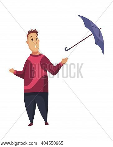 Bad Windy Rainy Weather Funny Cartoon People Icon. Man With Umbrella Standing Under Rain. Character