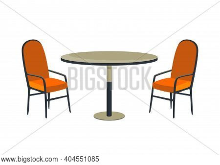 Patio Area. Cafe And Garden Furniture Table And Chair Isolated On A White Background. Summer Outdoor