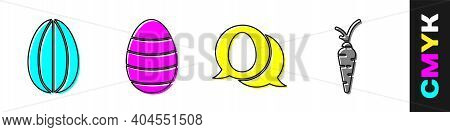 Set Easter Egg, Easter Egg, Speech Bubble With Easter Egg And Carrot Icon. Vector