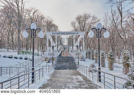 Zheleznovodsk, Russia - January 19,2021: Winter Landscape. Snow-covered Kaskadnaya Lestnitsa Or Casc