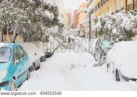 Street Of Madrid City After A Big Snowfall