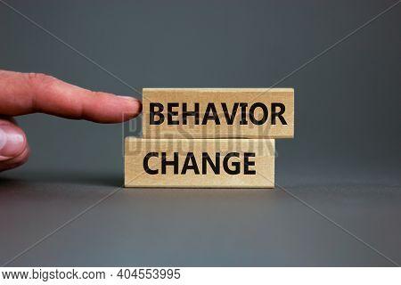 Time To Behavior Change Symbol. Wooden Blocks With Words 'behavior Change'. Beautiful Grey Backgroun